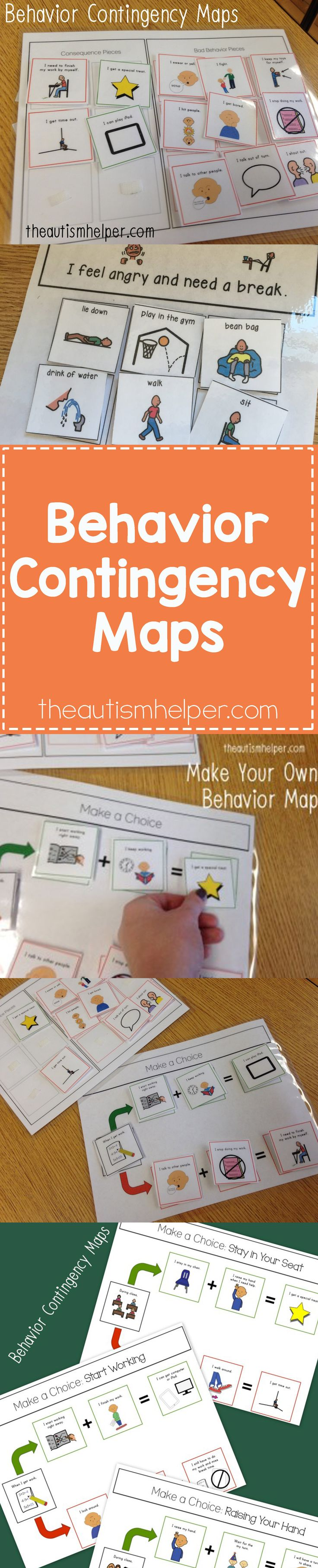 Behavioral Contingency Maps are a MUST-HAVE resource that will clearly & concretely explain any behavioral intervention to your kids! From theautismhelper.com #theautismhelper