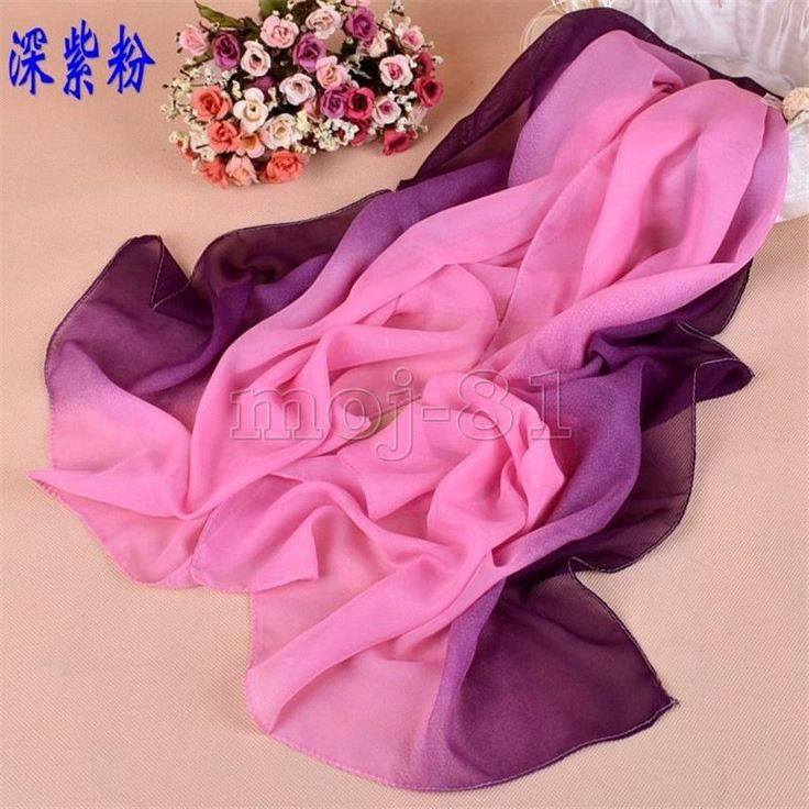 Fashion Women's Pink &Purple Solid Color Chiffon Scarf Wrap Shawl Stole Scarves