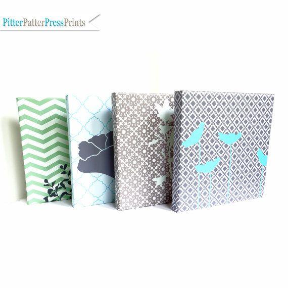 Flower Canvas Art // Modern Silhouettes Wall Art // Living Room // Girls Nursery // blue green grey // Set of four canvas, size 14X14