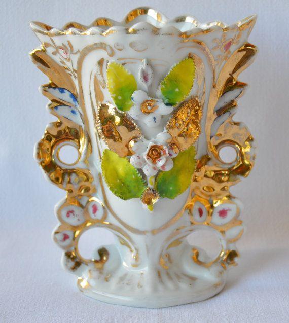 Franse antieke porseleinen vaas - porselein van Parijs bruiloft bruid getrouwd vaas - wit en verguld - 19th.c