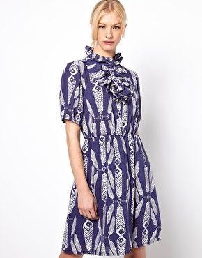Ivana Helsinki Day Dress with Ruffle High Collar