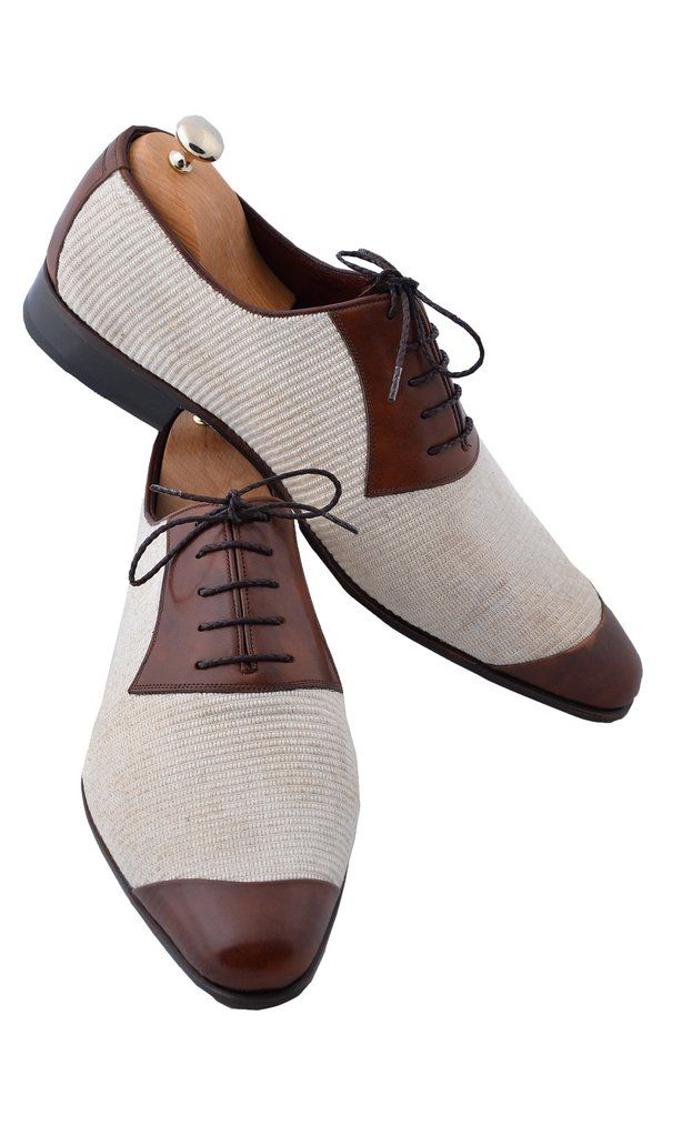 Handmade Brown Linen Men Shoes