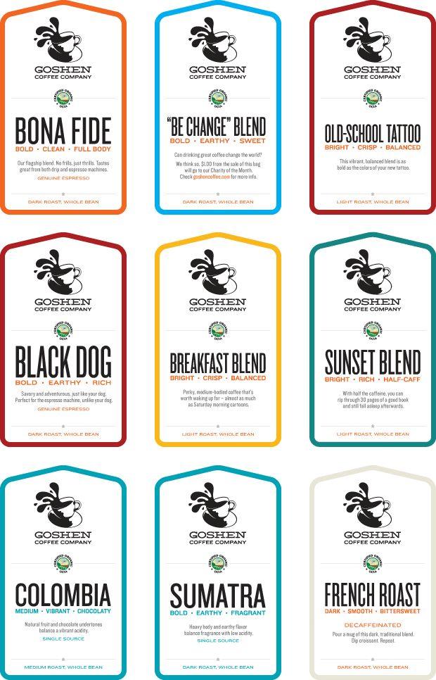 Goshen Coffee Labels Design for Packaging