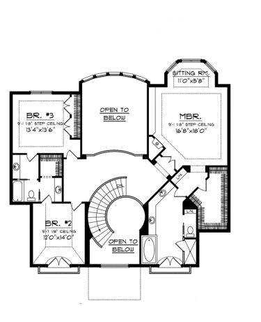images of 2 story house plans with curved stairs