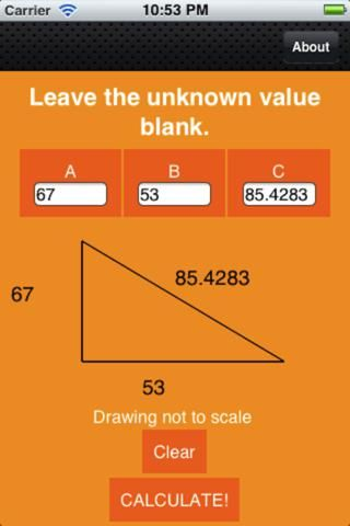 This app was created to solve the pencil breaking and pillow punching that comes with a tough Pythagorean Theorem Problem. No more do you have to figure out the square root of some non-perfect square! If you need a visualization of the triangle, no problem! A drawing is there at all times to assist you.