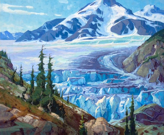 """The Toe of Salmon Glacier"" By Jerry Markham 30 x 36 oil"