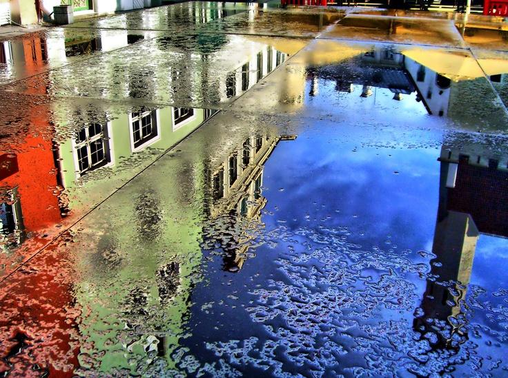 Beautiful reflections of the building in Tallinn, Estonia
