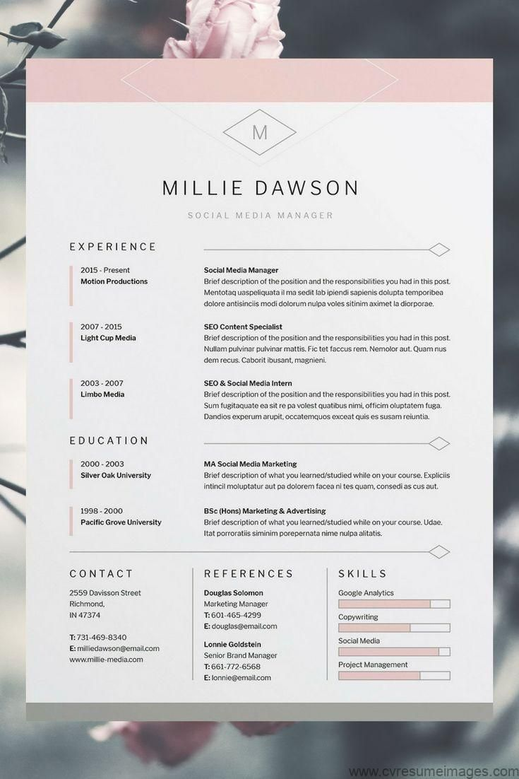 Millie Resume Cv Template Word Photoshop Indesign Professional Resume Design Cover Letter Instant Download Professional Cv Template Cv Resumes Disenos De Curriculum Vitae Plantilla Cv Gratis Curriculum Vitae Diseno Grafico