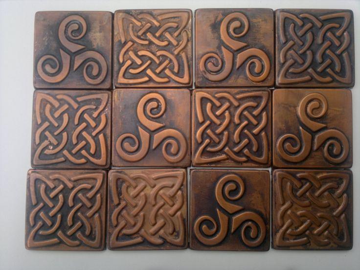 Celtic Tiles Celtic Designs Set Of 4 Copper Celtic Tiles Celtic Decor