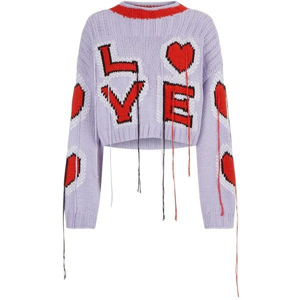 Philosophy Di Lorenzo Serafini Cropped Love Sweater ($695) ❤ liked on Polyvore featuring tops, sweaters, white cotton sweater, crop tops, white cropped sweater, letter sweater and cotton crop top