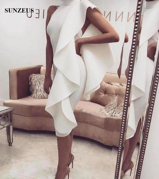 Sheath Knee Length Short Cocktail Dresses High Neck Low Back Simple Prom Party D…