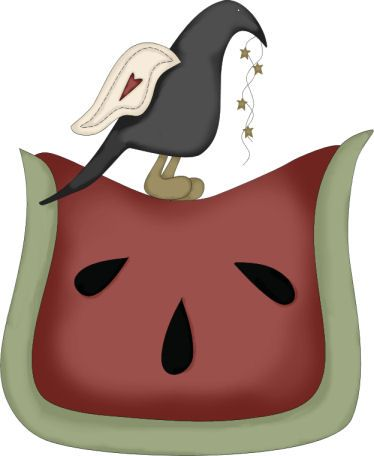 CROW AND WATERMELON CLIP ART