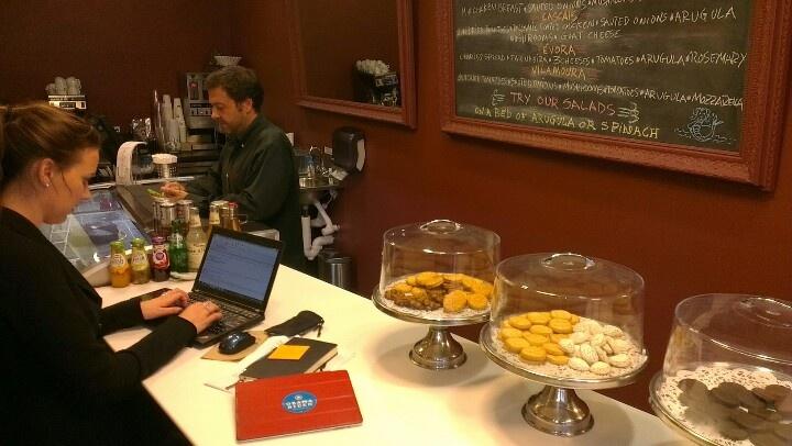 "Waiting Waiting to continue Obamas campaign. Spending cozy time om even more cozy café ""Sweet Diablo"", 1200 19. St & M."
