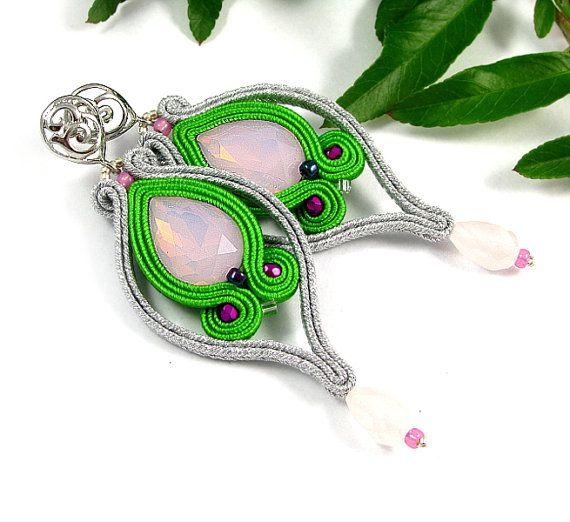 Dangle long soutache earrings silver green pink grey earrings crafted jewelry