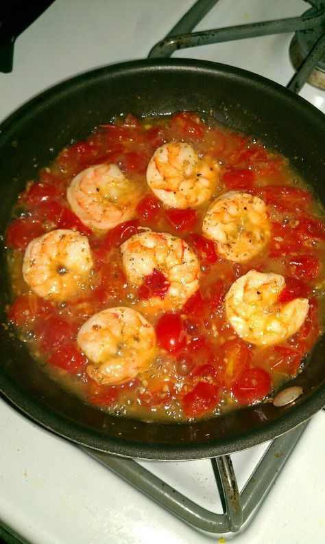 My HCG Diet meal. Tomatoes and shrimp sauteed in fresh squeezed lemon juice and …