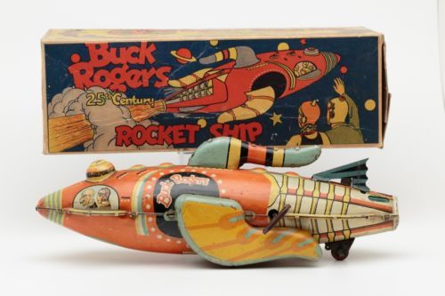 '30s Marx Tin Litho Wind-up BUCK ROGERS in 25th Century Rocket Ship Space w/ Box