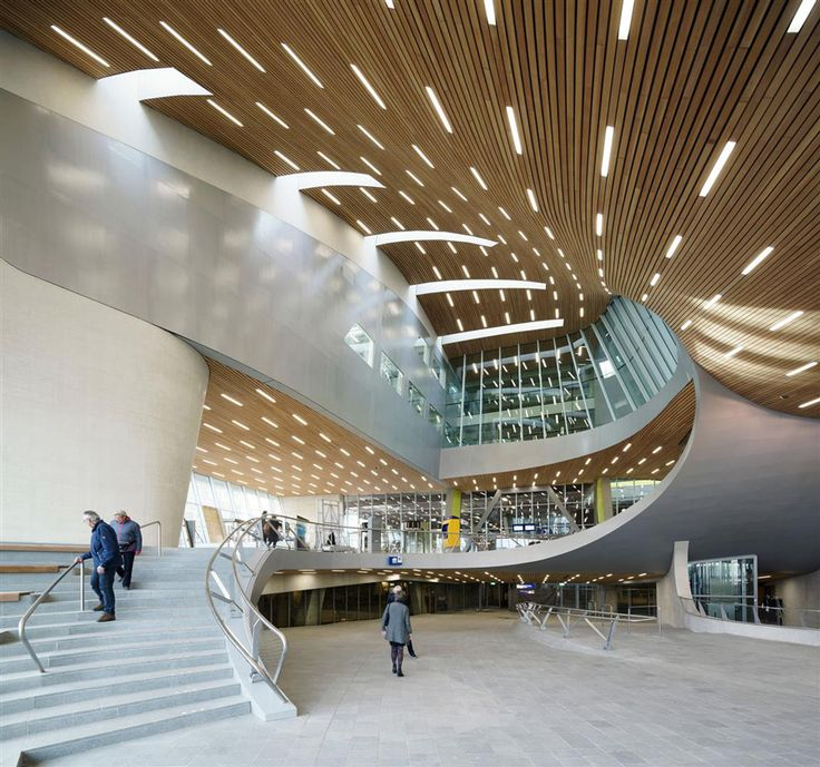 Station Arnhem by UNStudio At the centre of the masterplan is the new transfer hall, which includes all of the waiting areas and facilities for trains, trams and buses, as well as a variety of shops and restaurants, offices and a conference centre.