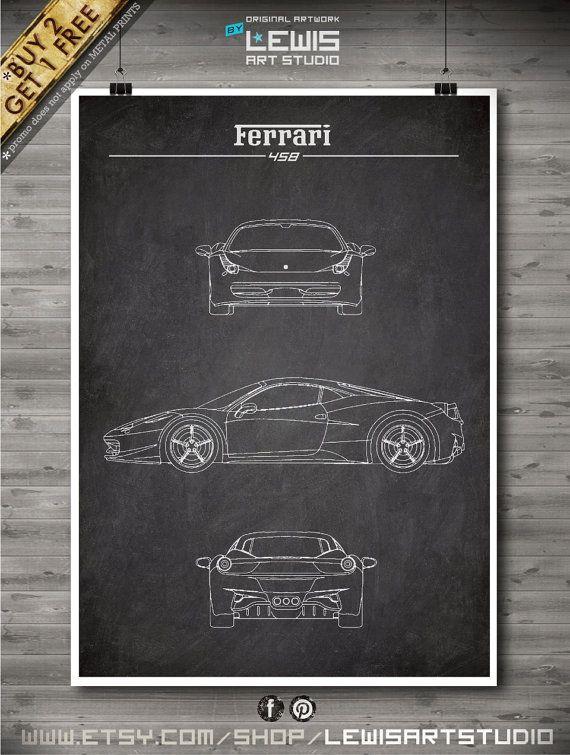 Ferrari poster Ferrari 458 Ferrari Patent by LewisArtPrints
