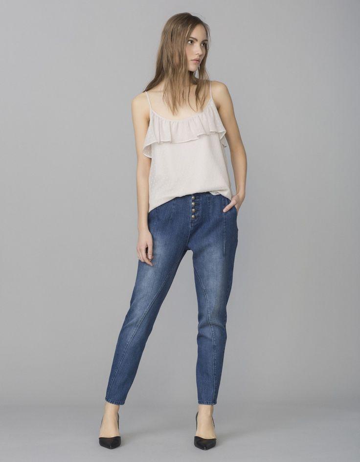 Jeans tiro alto capri | Blanco
