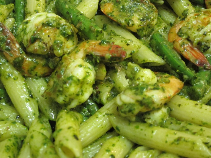Shrimp and Green Beans with Pesto Pasta. I used all the basil to make ...