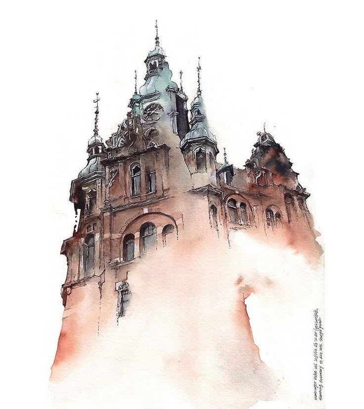 Catedrais góticas e telhados europeus nas aquarelas de Sunga Park