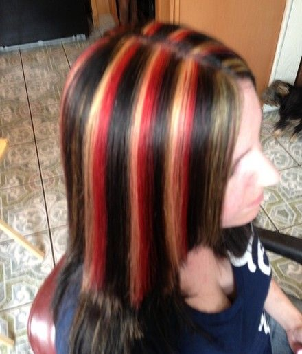 Black Hair With Red Highlights Related For Dark Brown