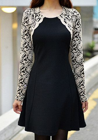 Embroidered Lace Sleeves Dress - Black - Partially Lined Dress
