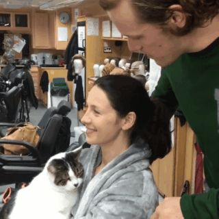 tumblr_inline_ojoxe8q5Eh1uy2pdq_500.gif (320×320) Sam Heughan / Caitriona Balfe with their cat Eddie