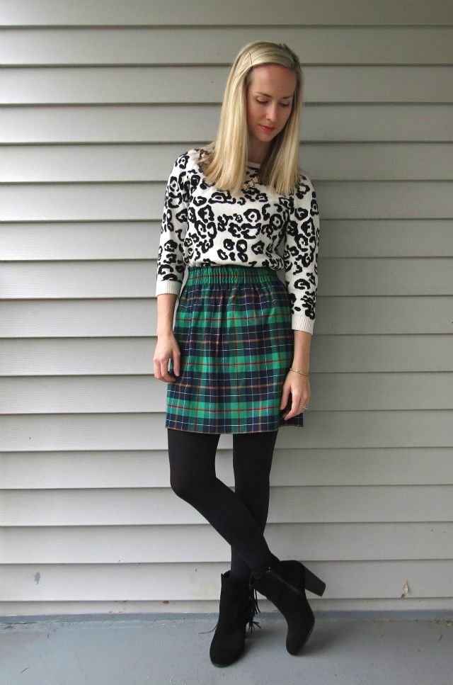 j crew factory plaid skirt, snow leopard sweater, how to mix prints, plaid and leopard print, ankle boots with skirt