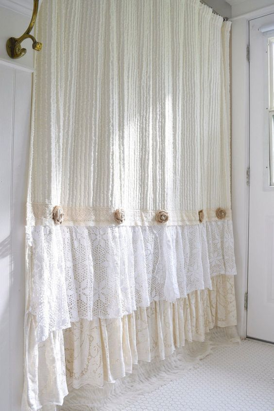 Shabby Cottage Chic Shower Curtain Cream Chenille Lace Ruffle Girls Bohemian Bathroom Gift For Her Shabbychicbathroomsshower Girlsshabbychicbathrooms