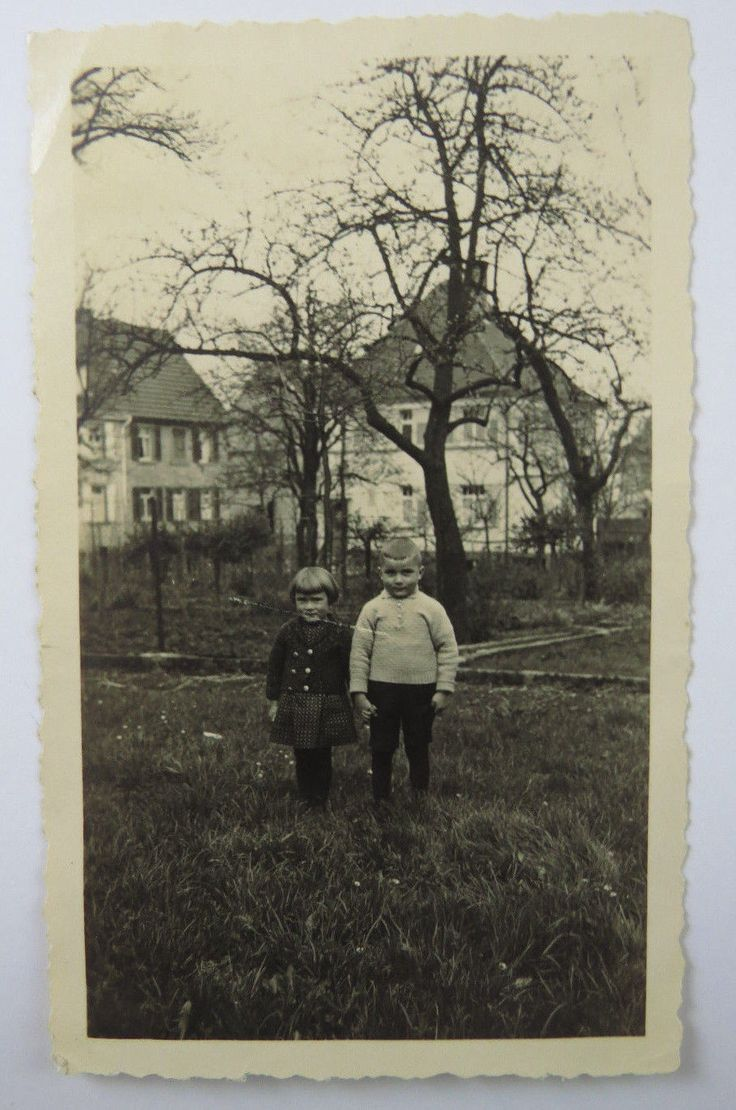Vintage B&W Snapshot Photograph Two Young Children Holding Hands Outside