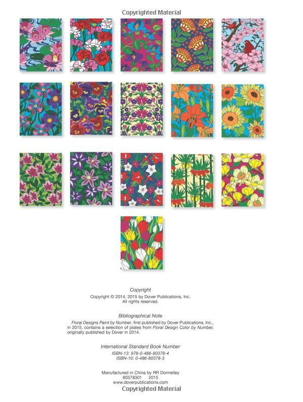 creative haven floral designs paint by number adult coloring jessica mazurkiewicz 9780486803784 - Color By Number Books