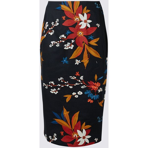 Cotton Rich Floral Print Pencil Midi Skirt M&S (51 AUD) ❤ liked on Polyvore featuring skirts, mid calf pencil skirts, floral skirt, cotton midi skirt, cotton knee length skirt and floral-print pencil skirts