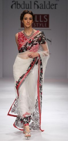 Inspiration  White saree red blouse black embroidered border  @TVW