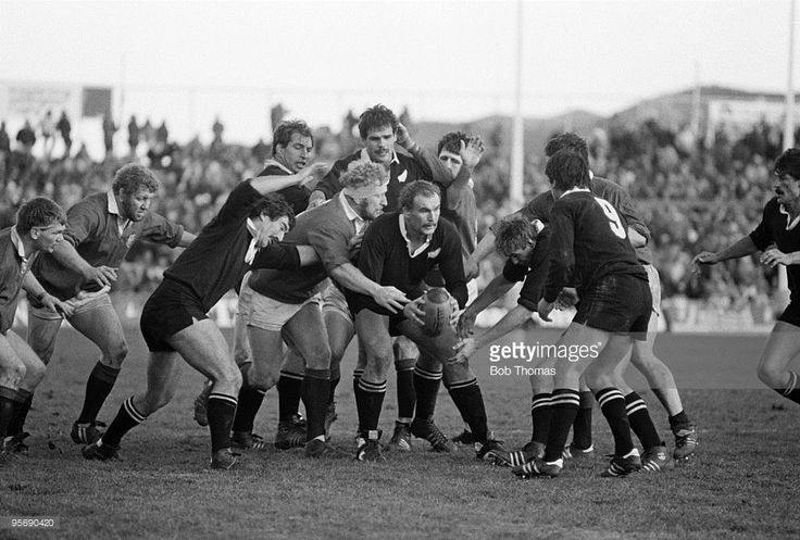 The New Zealand All Blacks' lock forward Andy Haden with the ball during the 2nd Test Match against the British Lions held at Athletic Park in Wellington on 18th June 1983. The New Zealand All Blacks won 9-0. (Photo by Bob Thomas/Getty Images).