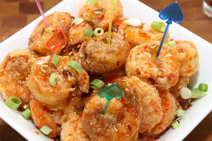 """Restaurant inspired recipe """" Bang Bang Shrimp"""". Crispy fried shrimp toss in spicy sauce and served as a wonderful appetizer."""