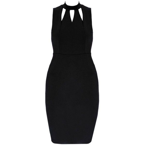 Plus Size Cut Out Collar Halter Midi, Black ($33) ❤ liked on Polyvore featuring dresses, halter dress, bodycon midi dress, midi dress, halter bodycon dress and cutout dresses