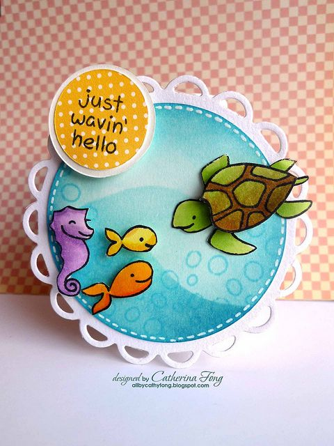 Wavin' Hello by cathy.fong, via Flickr  Gorgeous coloring! Lawn Fawn Critters in the Sea