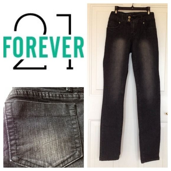 "Forever 21 Black distressed jeans Forever 21 Black distressed jeans, skinny legs, inseam 31"", Size 28/32 Forever 21 Jeans"