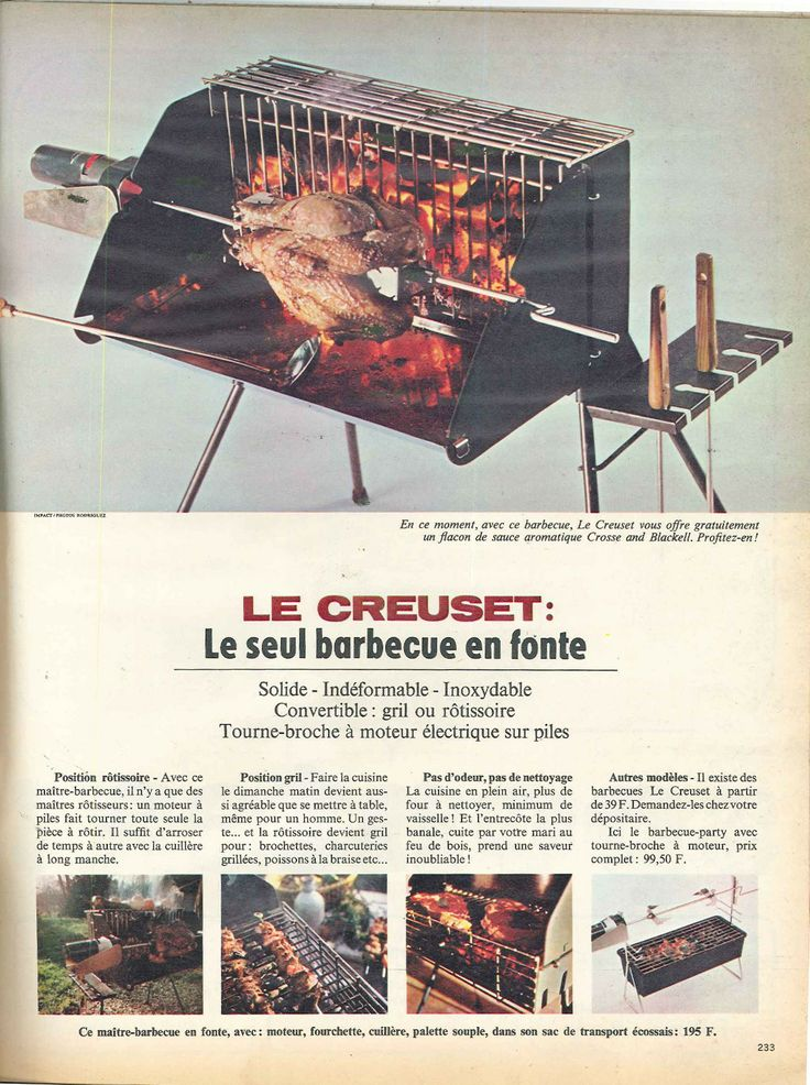 le creuset le seul barbecue en fonte elle 12 mai 1966 publicit s ann es 60 pinterest. Black Bedroom Furniture Sets. Home Design Ideas