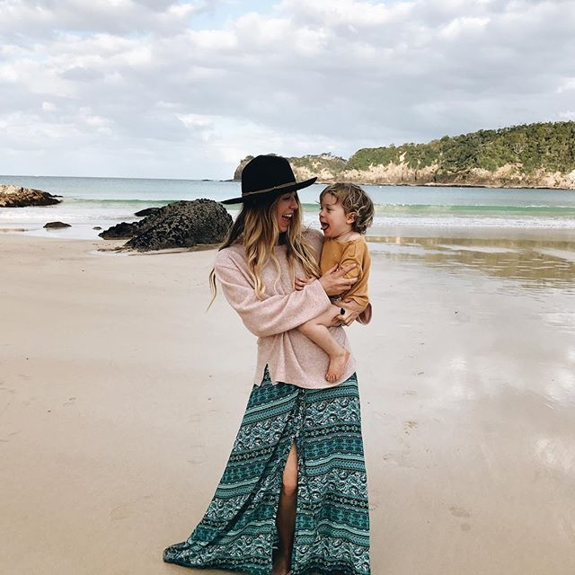 mom and son beach everyday adventures, family travel beach vacation, new zealand, boho style, mom style // INSTAGRAM @belandbeau