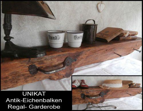 UNIKAT-Antikholz-Eiche-Balken-Regal-Board-Garderobe-antik-geschmied-Eisen-x15