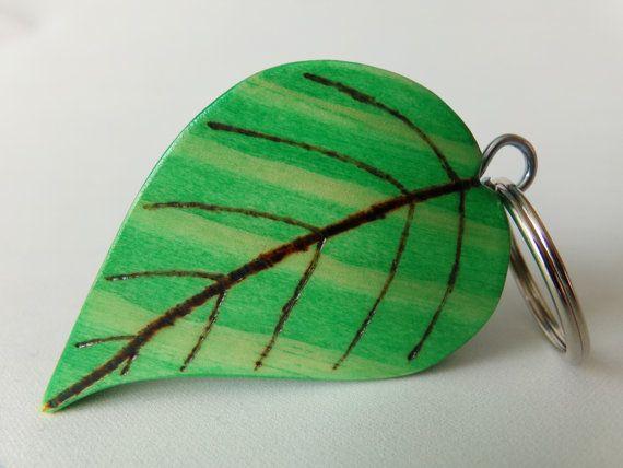 Keyring Handmade Wooden Keyring Green Leaf by S33DTrading on Etsy