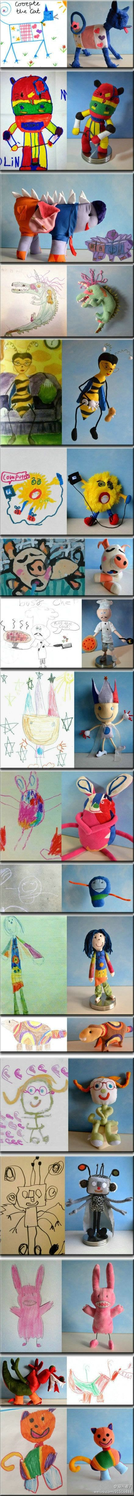 Absolutely a must do for the kids! Awesome keepsake! stuffed animal from kid's drawing