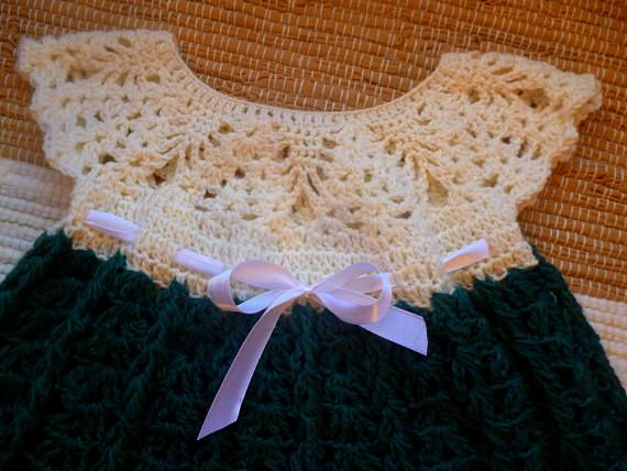 Crochet baby dress Christmas baby dress green with white