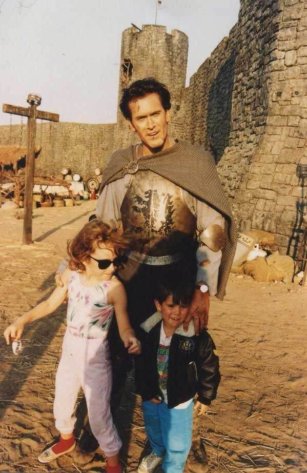 Bruce Campbell with his kids Rebecca Campbell and Andy Campbell on the set of Army of Darkness