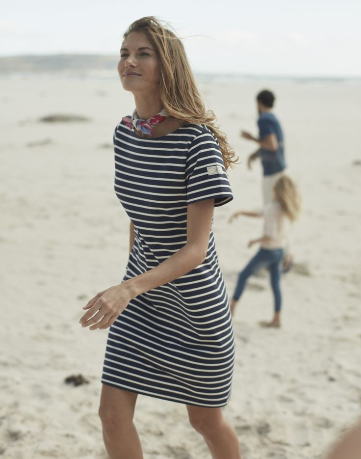 Riviera Jersey T-Shirt Dress in Hope Stripe French Navy