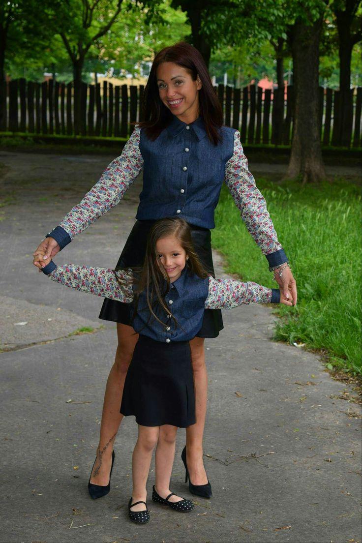 Mintás ujjú anya-lánya farmering szett www.minniemes.com