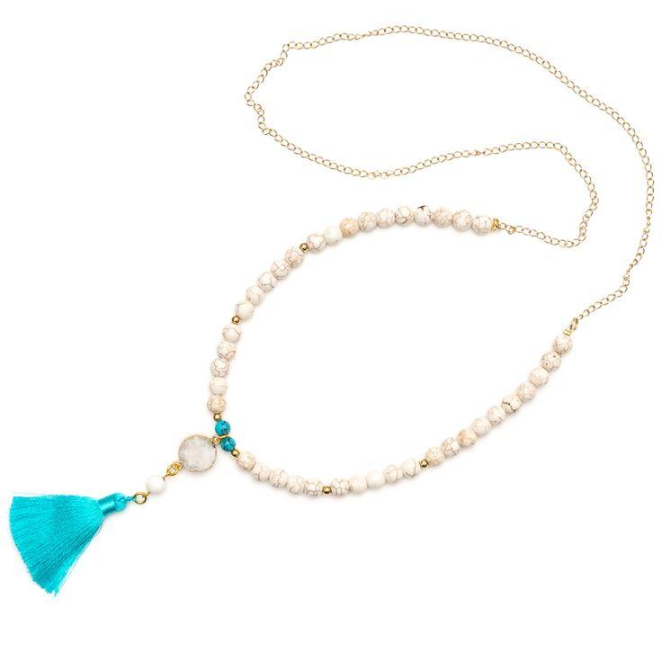 xada jewellery - Azure druzy and white stone tassel necklace, $62.95 (http://www.xadajewellery.com/shop-collection/azure-druzy-and-white-stone-tassel-necklace/)