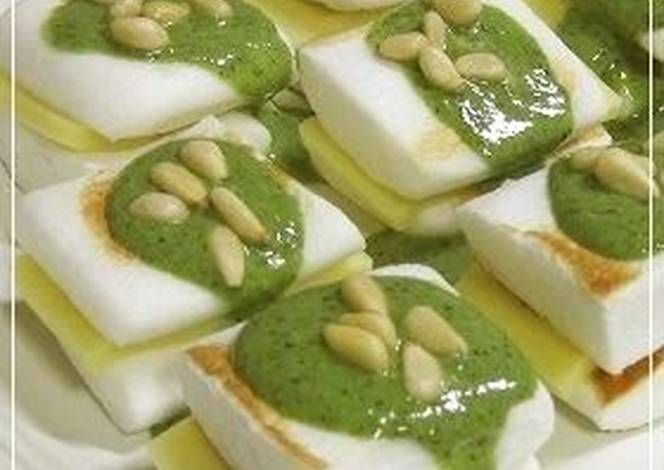 Cheese and Hanpen Sandwiches with Basil Pesto Recipe -  Yummy this dish is very delicous. Let's make Cheese and Hanpen Sandwiches with Basil Pesto in your home!